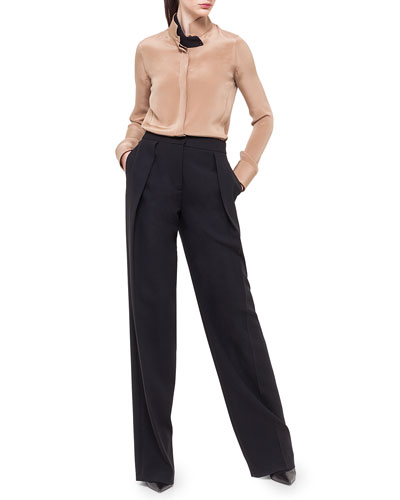 Stand-Collar Silk Blouse & Florian Deep-Pleat Pants