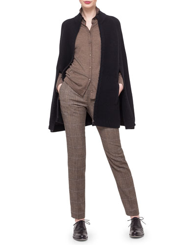 Cashmere-Blend Pique Knit Cape, Boyfriend Fine-Stripe Cardigan & Melvin Prince of Wales Print Pants