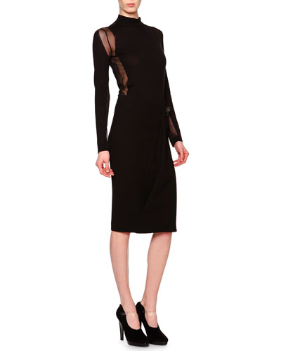 Sheer Paneled Turtleneck Top & Side-Draped Buckle-Detailed Skirt