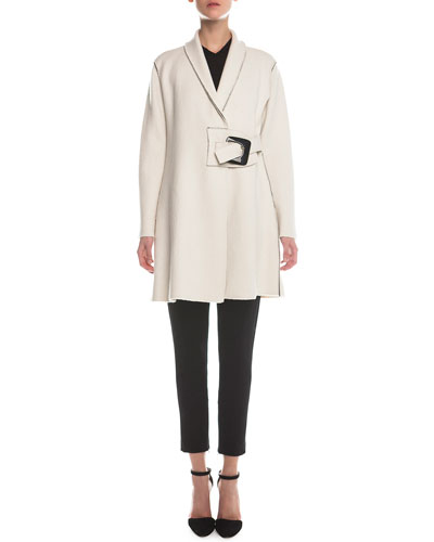 Wrap Buckled Wool Coat, V-Neck Sheer-Sleeve Sweater & Jersey Zip-Cuff Ankle Pants