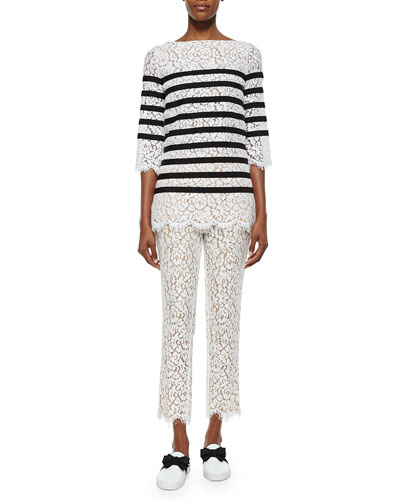 3/4-Striped Lace Top & Cropped Skinny Pants