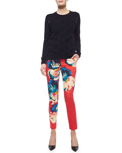 Damask Crewneck Sweater & Floral-Print Pants