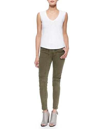 Vicki Slub-Jersey Tee & Ginger Patchwork Utility Pants