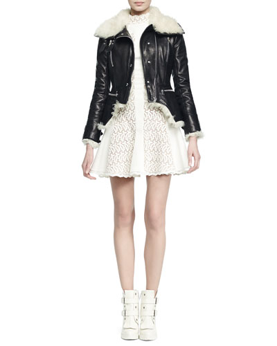 Shearling Cutaway Moto Jacket & Paneled Lace Flared Dress