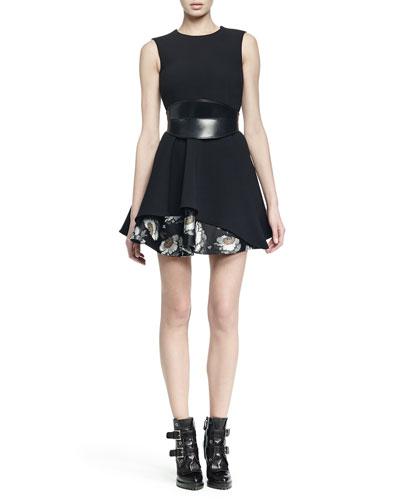 Sleeveless Jacquard Flounce-Hem Dress & No-Buckle Leather Waist Belt