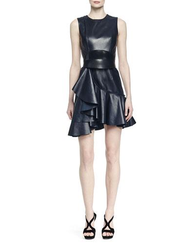 Napa Leather Ruffled Dress & No-Buckle Leather Waist Belt