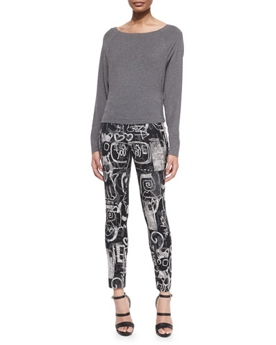 Bateau-Neck Long-Sleeve Top & Side-Zip Printed Slim Pants