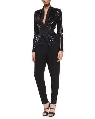 Allover Sequined Belted Jacket & Sleeveless Harem-Pant Combo Jumpsuit
