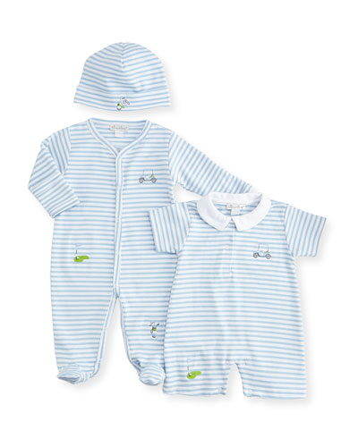 Chip & Putt Striped Footie Pajamas, Shortall & Baby Hat, Light Blue/White
