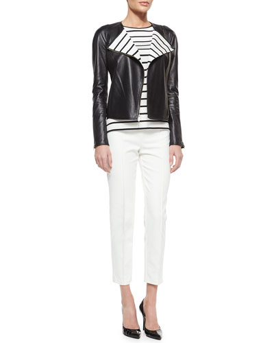Napa Leather Striped-Lapel Jacket, Catalina Striped Silk Tank & Stretch Micro Ottoman Pants
