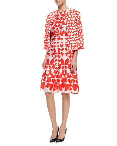 Allover Floral Jacquard Knit Jacket & Mirrored Floral Jacquard Knit Dress