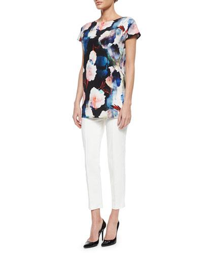 Shadow Rose Print Silk Shirt & Stretch Micro Ottoman Capri Pants