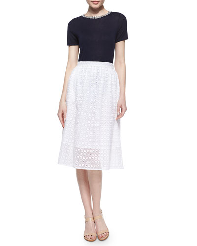 Short-Sleeve Embellished-Crewneck Sweater & Geometric Eyelet Lace Skirt
