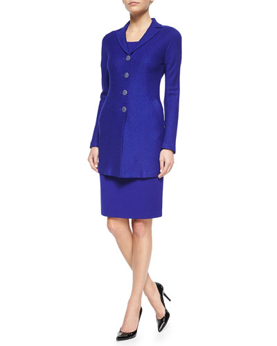 Diagonal Texture Knit Jacket & Milano Scoop-Neck Sheath Dress