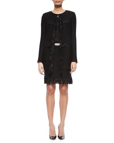 Ribbon Fringe Pique Topper Coat, Short-Sleeve Crepe de Chine Top, Texture Knit Fringe Mini Skirt & Pavé-Buckle Leather Belt