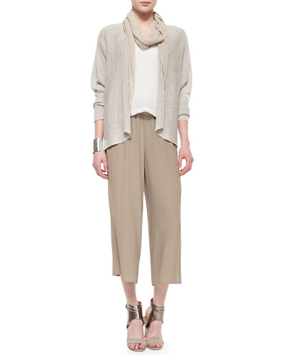Twisted Rib Handkerchief Scarf, Rustic Speckled Open Cardigan, Linen Gauze Short Top, Wide-Leg Cropped Pants