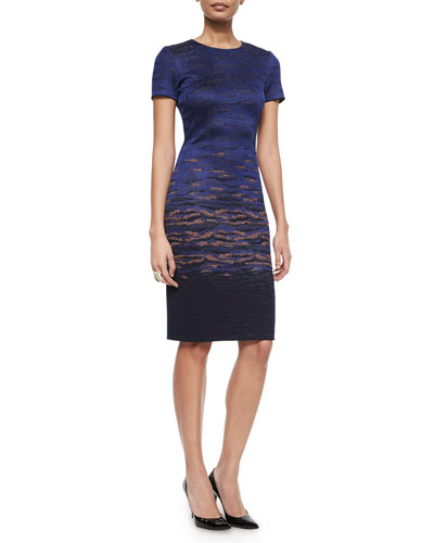 Two-Tone Pearly Stud Ring & Sunset Jacquard Knit Sheath Dress