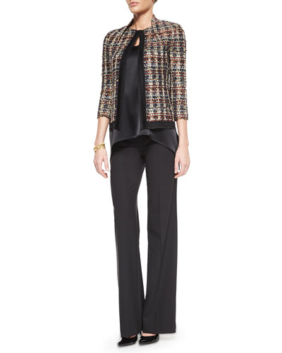 Liquid Satin V-Neck Shell, Wide-Leg Stretch Pants, Opulent Tweed Jacket & Boucle Knot Bracelet