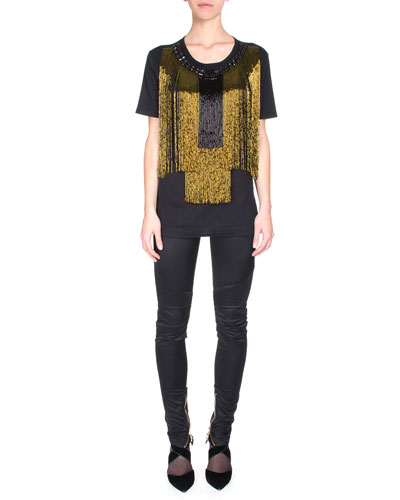 Beaded Fringe Short-Sleeve Tee & Satin Ankle-Zip Biker Pants