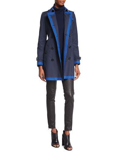 Burberry London Double-Breasted Contrast-Trim Trenchcoat &
