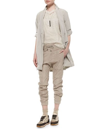Taffeta Cuffed-Sleeve Anorak, Sequin Knit Pullover Sweater & Suede Drawstring Pants