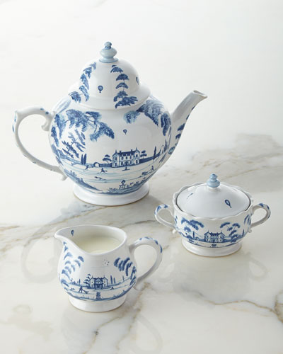 Country Estate Delft Blue Teapot, Sugar Bowl, & Creamer