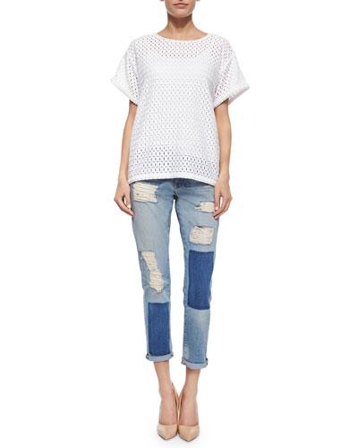 Le Boyfriend Lace Tee & Le Garcon Distressed Ankle Jeans