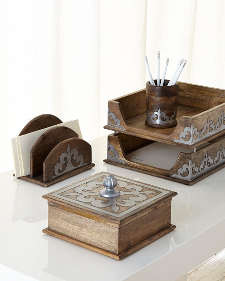 GG Collection Wood & Metal Inlay Pencil Holder