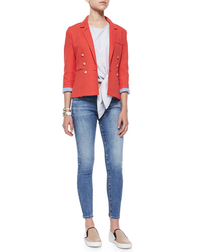 Rumpled Crepe Military Blazer, Stripe Shirting Crop Tie Top & Legging Ankle Jeans