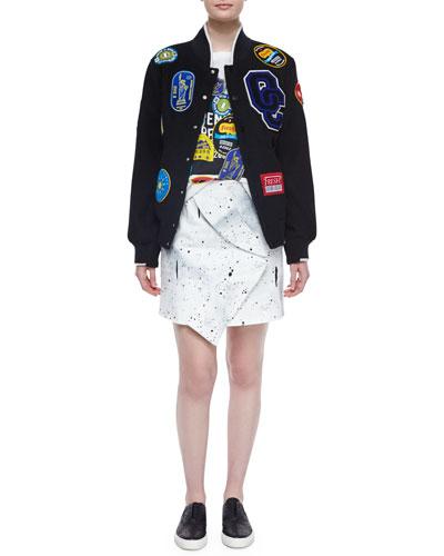 Fruit Sticker Varsity Jacket, Short-Sleeve Fruit Sticker Tee & Bandana-Twist Mini Skirt