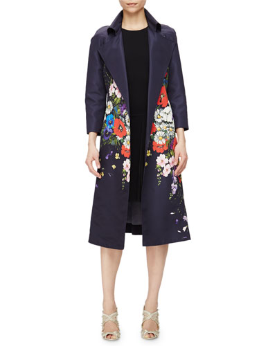 Floral-Print Gazar Trenchcoat & Sleeveless Jewel-Neck Drop-Waist Dress