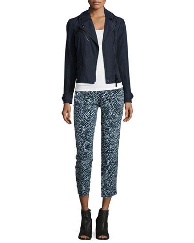 Castlemoore Linen Biker Jacket & Printed Silk Pull-On Trousers