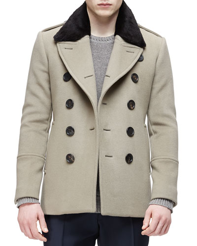 Double-Breasted Pea Coat with Removable Fur Collar & Cashmere Crewneck Sweater