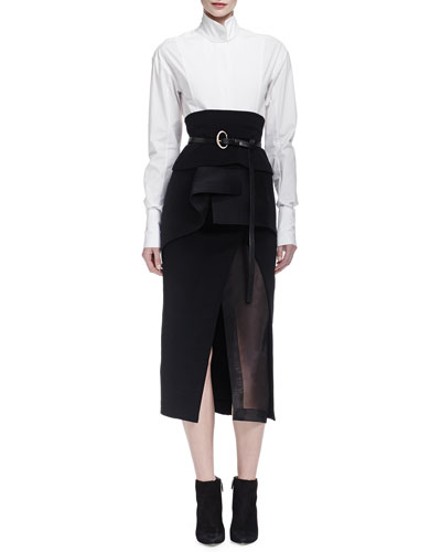 Origami-Collar Poplin Blouse, Slit Shadow Paneled Skirt & Organza Peplum-Ruffled Obi Belt