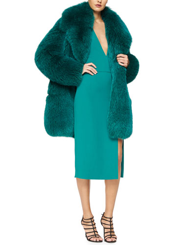 Full Fox Fur Coat & Plunging High-Slit Cady Dress
