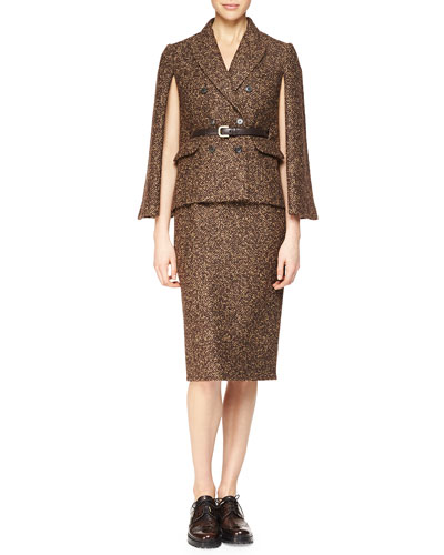 Double-Breasted Cape Jacket & Tweed Slim Pencil Skirt