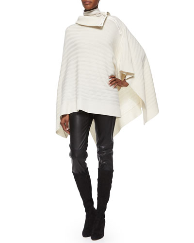 Leather Cropped Leggings, Cashmere-Blend Turtleneck & Cashmere Button-Shoulder Poncho