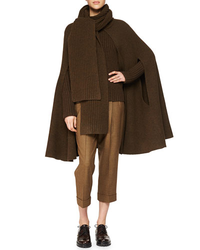 Cashmere-Blend Ribbed Scarf-Collar Cape, Cashmere-Blend Ribbed Crewneck Sweater & Slouched Tic Weave Capri Pants