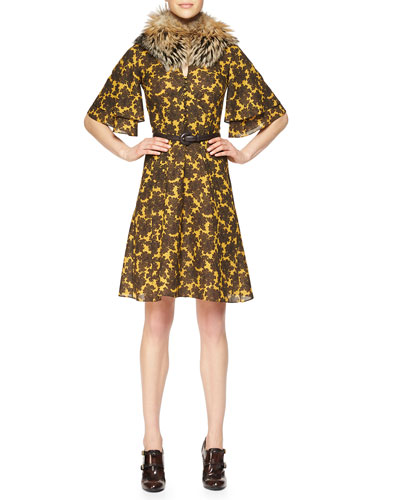Fox Fur Tippet Collar, Paisley-Print Ruffle-Sleeve Dress & Skinny Leather Belt