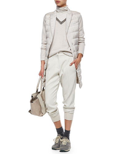 Sleeveless Puffer Jacket, V-Neck Sweater, Sleeveless Turtleneck & Woven Jogger Pants