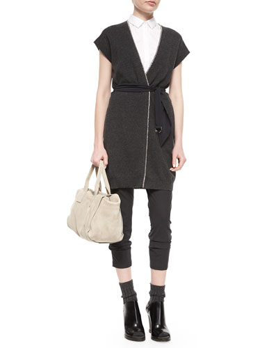 Cashmere Long Tie-Waist Cardigan, Poplin Sleeveless Shirt & Lightweight Stretch Pants