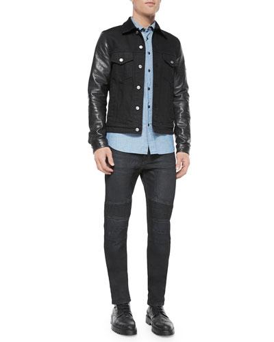 Stockfield Leather-Sleeve Denim Jacket, Lowry Chambray Long-Sleeve Shirt & Harpton Raw-Stretch Moto Jeans