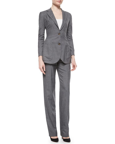 Patch-Pocket Woven Jacket & Woven Straight-Leg Pants