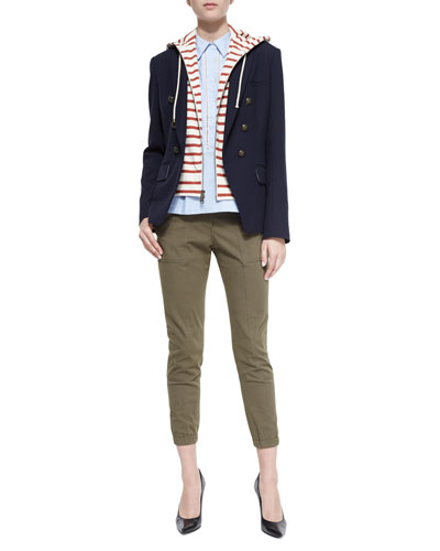 Captain Double-Breasted Jacket, Venture Sleeveless Peplum Top & Field Cargo Ankle Pants