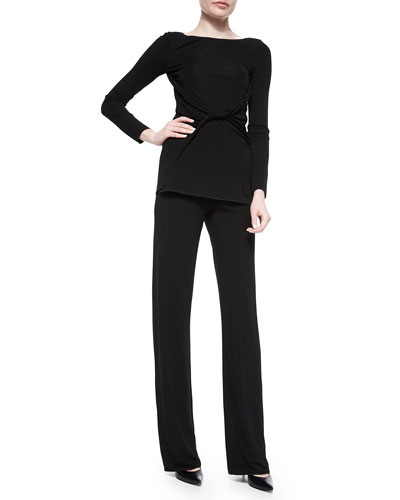 Twist-Front Jersey Top & Straight-Leg Side-Zip Pants