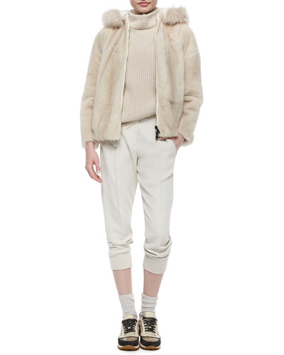 Reversible Mink Jacket with Fox Fur-Trimmed Hood, Cashmere Ribbed Chiffon-Trimmed Tunic & Woven Wool Jogger Pants