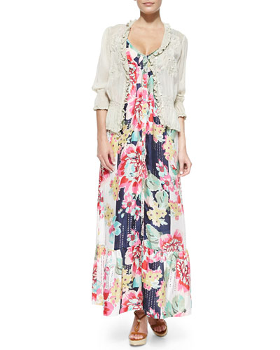 3/4-Sleeve Georgette Pintuck Cardigan & Sleeveless Floral-Print Button-Front Long Dress