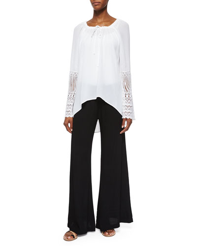 St. Barts Tunic W/ Crochet Sleeves & Windy Ghost Wide-Leg Pants, Women