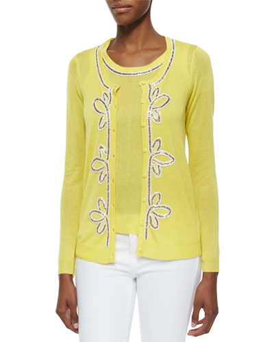 Button-Front Cardigan & Shell with Bead Trim, Petite