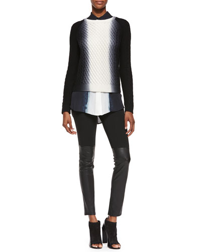 Kenzo Black Leather And Knit Embossed Fashion Leggings Dip Dye Cable Knit Crewneck